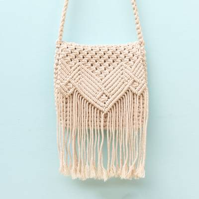 Cotton macrame sling, 'Contemporary Tegalalang' - Hand-Knotted Fringed Cotton Macrame Sling Crafted in Bali