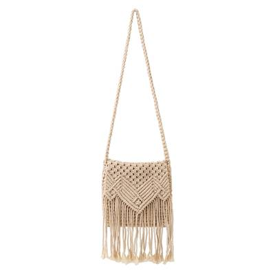 Hand-Knotted Fringed Cotton Macrame Sling Crafted in Bali