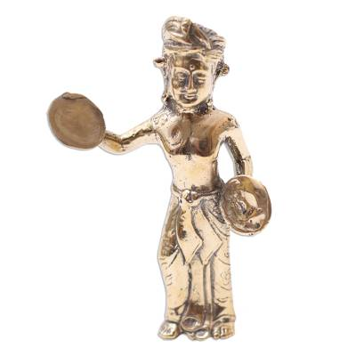 Antiqued Bronze Sculpture of a Ceng-Cenge Player from Bali