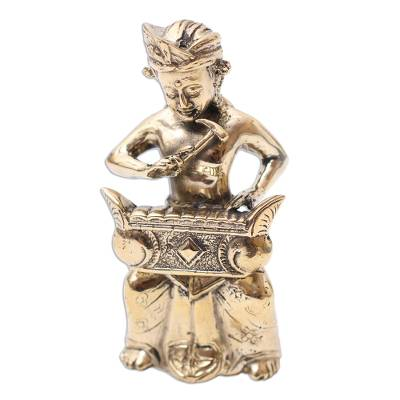 Bronze Sculpture of a Traditional Rindik Player from Bali