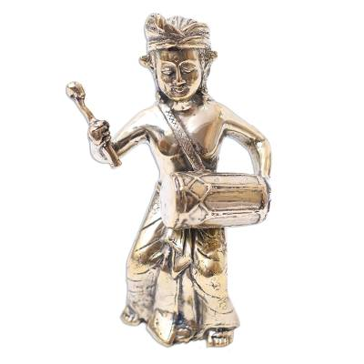 Bronze Sculpture of a Traditional Kendang Player from Bali