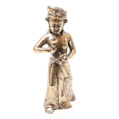 Bronze Sculpture of a Traditional Gong Player from Bali