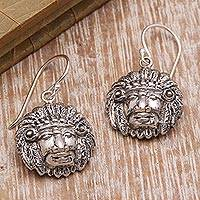 Sterling silver dangle earrings, 'Tribal Chief'