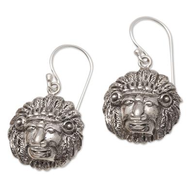 Sterling silver dangle earrings, 'Tribal Chief' - Tribal Chief Sterling Silver Dangle Earrings from Bali