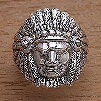 Sterling silver ring, 'Tribal Chief'