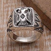 Sterling silver signet ring, 'Ancient Eagle' - Sterling Silver Eagle Signet Ring Crafted in Bali