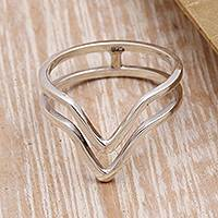 Sterling silver band ring, 'Shining Progress' - Pointed Sterling Silver Band Ring from Bali