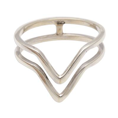 Pointed Sterling Silver Band Ring from Bali