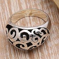 Sterling silver domed ring, 'Balinese Curls' - Curl Pattern Sterling Silver Domed Ring from Bali