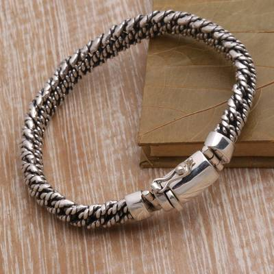 Sterling silver chain bracelet, 'Curb Ropes' - Rope Pattern Sterling Silver Chain Bracelet from Bali