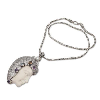 Cow bone and multi-gemstone pendant necklace, 'Wise and Wonderful' - Cow Bone Multi-Gemstone and Cultured Pearl Pendant Necklace
