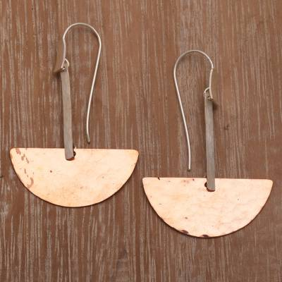 Sterling silver and copper dangle earrings, Half-Circle Modernity