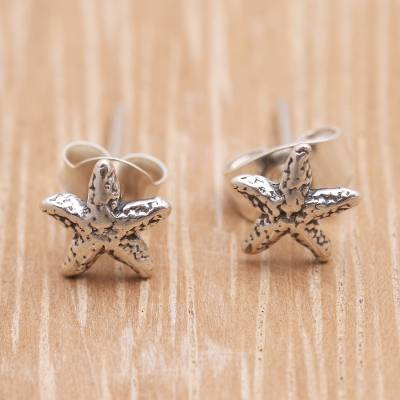 Sterling silver stud earrings, Cute Starfish