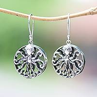 Sterling silver dangle earrings, 'Octopus Majesty'