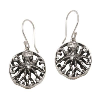 Sterling silver dangle earrings, 'Octopus Majesty' - Sterling Silver Octopus Dangle Earrings from Bali