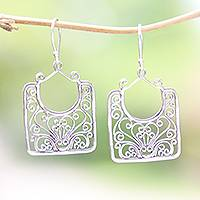 Sterling silver dangle earrings, 'Princess Baskets'