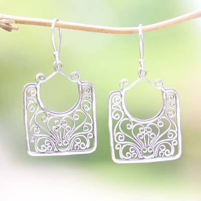 Sterling silver dangle earrings, 'Princess Baskets' - Openwork Swirl Pattern Sterling Silver Dangle Earrings