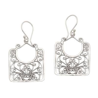 Sterling silver dangle earrings, 'Princess Baskets' - Openwork Swirl Pattern Sterling Silver Dangle Earrings