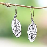 Sterling silver dangle earrings, 'Tufted Feathers' - Feather-Shaped Sterling Silver Dangle Earrings from Bali