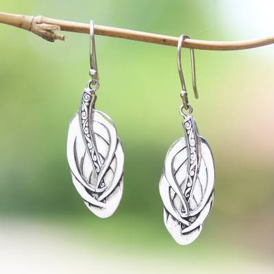 Sterling silver dangle earrings, Tufted Feathers