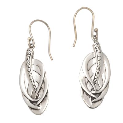 Sterling silver dangle earrings, 'Tufted Feathers' - Feather-Shaped Sterling Silver Dangle Earrings from Bali