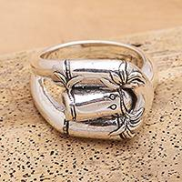 Sterling silver band ring, 'Clever Bamboo' - Sterling Silver Bamboo Trio Band Ring from Bali