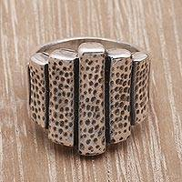 Sterling silver cocktail ring, 'Patterned Bars' - Patterned Sterling Silver Cocktail Ring Crafted in Bali