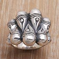 Sterling silver cocktail ring, 'Multiply' - Intricate Sterling Silver Cocktail Ring Crafted in India