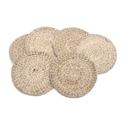 Natural fiber placemats, 'Bali Braid' (set of 6) - Round Natural Fiber Placemats (Set of 6)