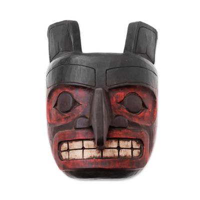 Wood mask, 'Totem Head' - Hand Carved Wood Totem Wall Mask from Indonesia