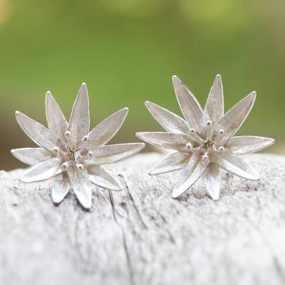 Sterling silver button earrings, 'Lotus Blossom Purity' - Handcrafted Sterling Silver Lotus Blossom Earrings from Bali