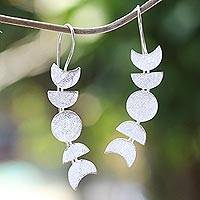 Sterling silver drop earrings, 'Moon Time' - Moon-Inspired Sterling Silver Drop Earrings from Bali