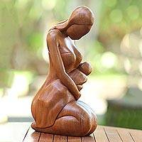 Wood sculpture, 'Care of a Mother' - Mother and Child-Themed Suar Wood Sculpture from Bali