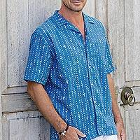 Men's linen-blend short-sleeved shirt, 'Keeping Track' - Men's Short Sleeved Linen Blend Shirt
