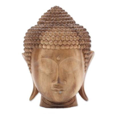 Hand-Carved Suar Wood Buddha Head Sculpture from Bali