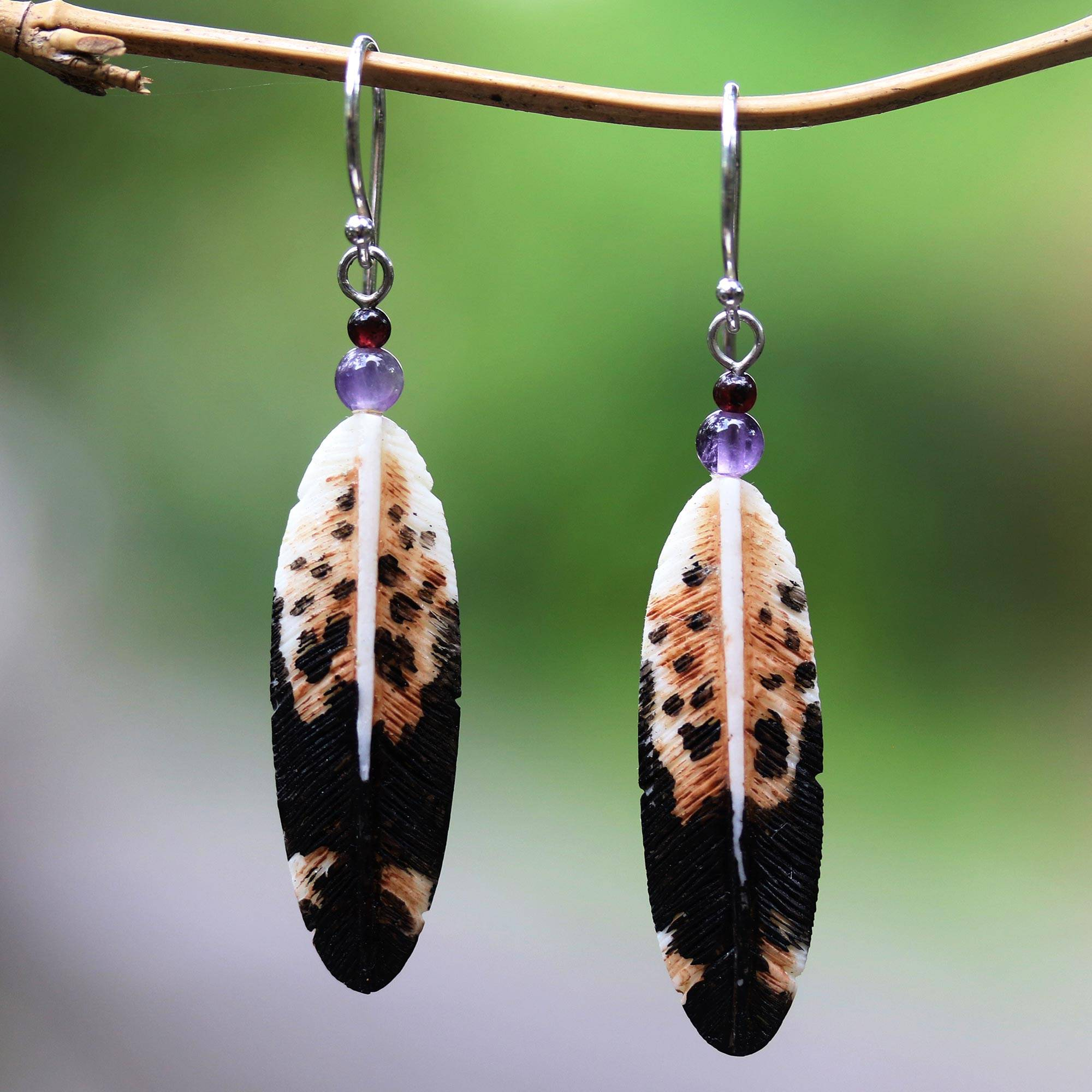 Feather Shaped Bone And Amethyst Dangle Earrings From Bali Fascinating Feathers Novica