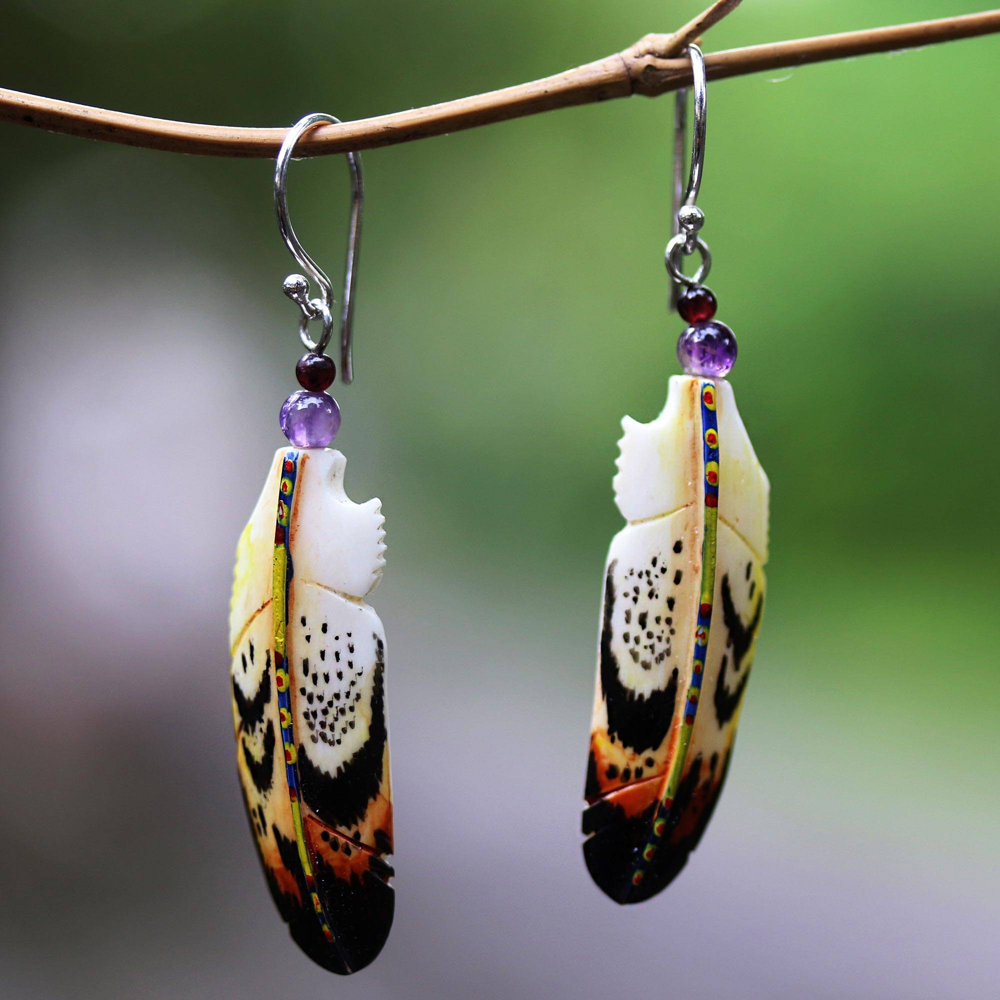 Hand Carved Bone And Amethyst Feather Dangle Earrings Delightful Feathers Novica