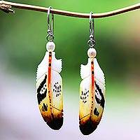 Bone and cultured pearl dangle earrings, 'Stunning Feathers' - Bone and Cultured Pearl Feather Dangle Earrings from Bali