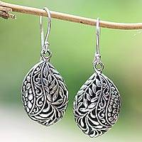 Sterling silver dangle earrings, 'Verdant Seeds' - Leaf Pattern Sterling Silver Dangle Earrings from Bali