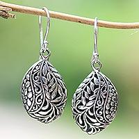 Sterling silver dangle earrings, 'Verdant Seeds' - Leaf Pattern Sterling Silver Dangle Earrings from Bali