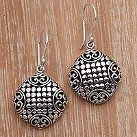 Sterling silver dangle earrings, 'Dotted Squares' - Dot Pattern Sterling Silver Dangle Earrings from Bali