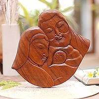 Wood relief panel, 'Jesus' Birth' - Hand Carved Balinese Relief Panel of the Holy Family