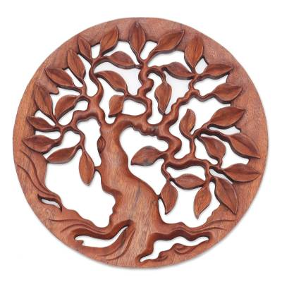 Wood relief panel, 'Venerable Tree' - Hand Carved Balinese Relief Panel of the Tree of Life