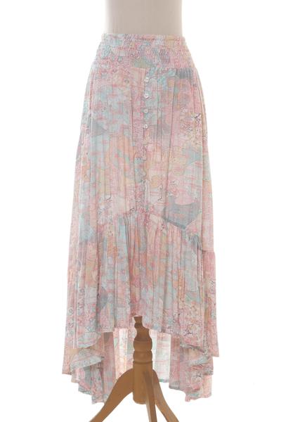 Pastel Pink and Aqua Print Rayon High-Low Skirt