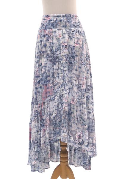 Elastic Waist High-Low Rayon Print Skirt