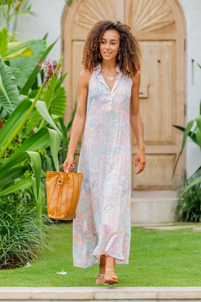Rayon halter dress, 'Sekar Jagad' - Rayon Halter Dress with Pink and Aqua Print