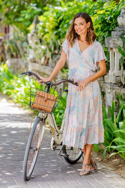 Rayon wrap dress, 'Sekar Jagad' - Butterfly Sleeve Rayon Wrap Dress in Pink and Aqua