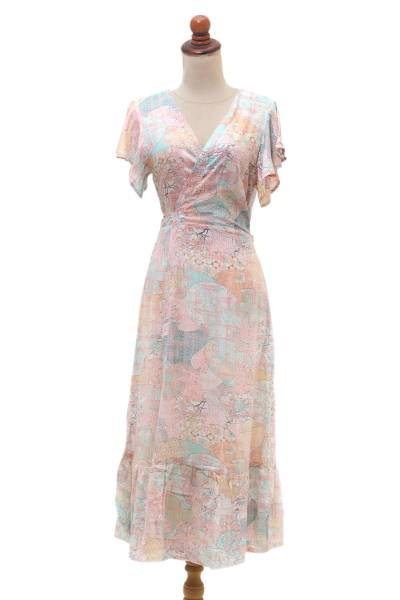 Butterfly Sleeve Rayon Wrap Dress in Pink and Aqua