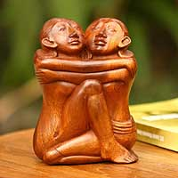 Wood sculpture, 'Yogi Romance' - Artisan Crafted Suar Wood Sculpture