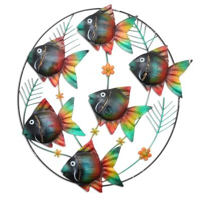 Hand Crafted Metal Wall Sculpture of Tropical Fish